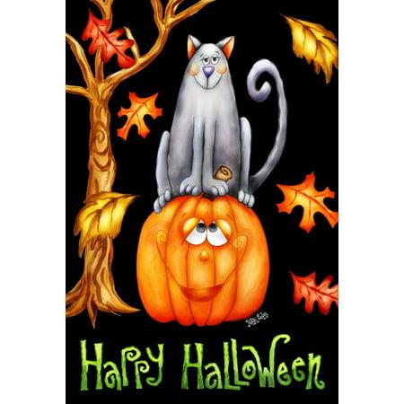 Image of Pumpkin Cat 28 x 40 Inch Decorative Happy Halloween Autumn Leaves Kitty Jack-O-Lantern House Flag