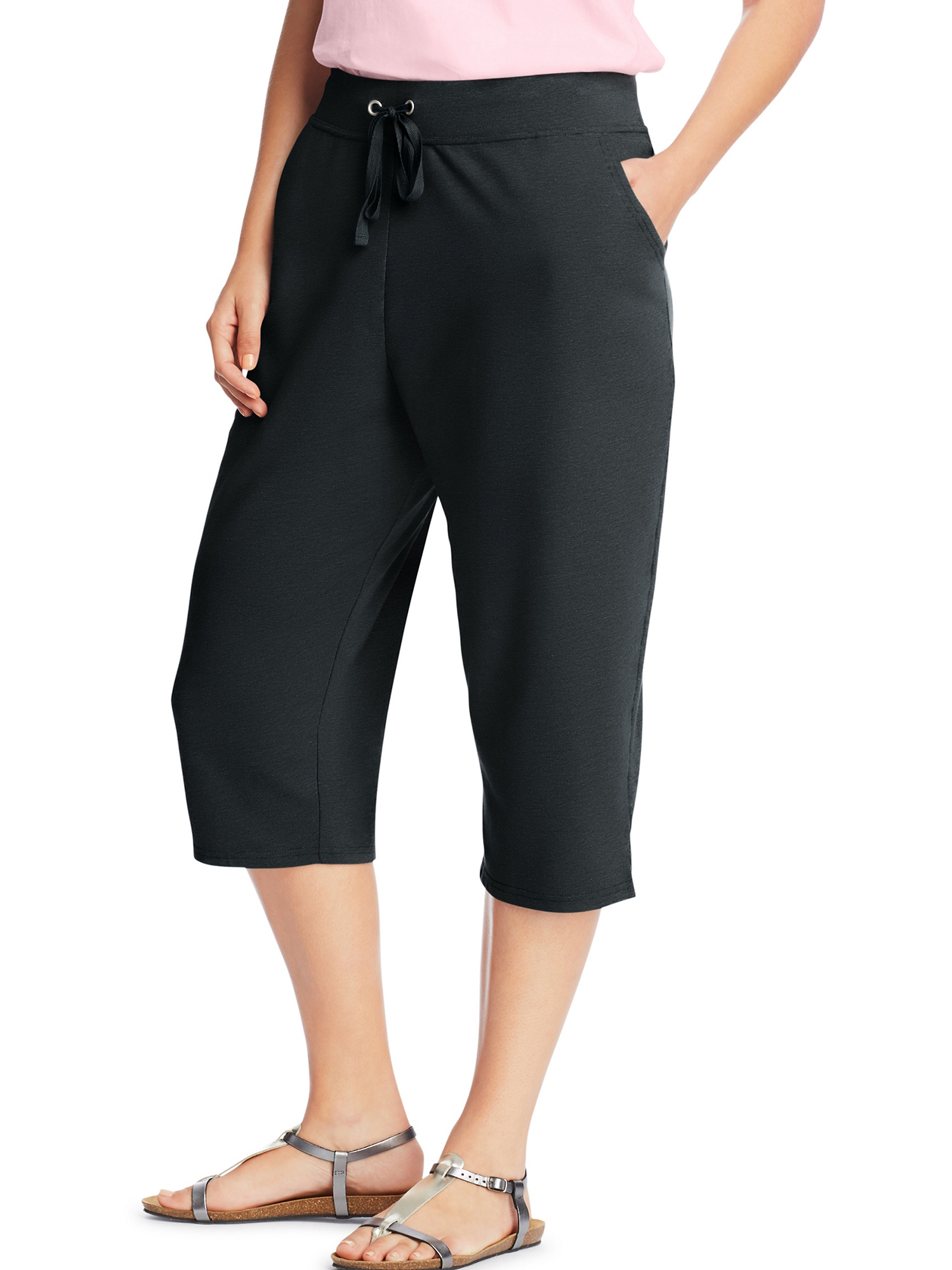 Women's plus-size french terry pocket capri