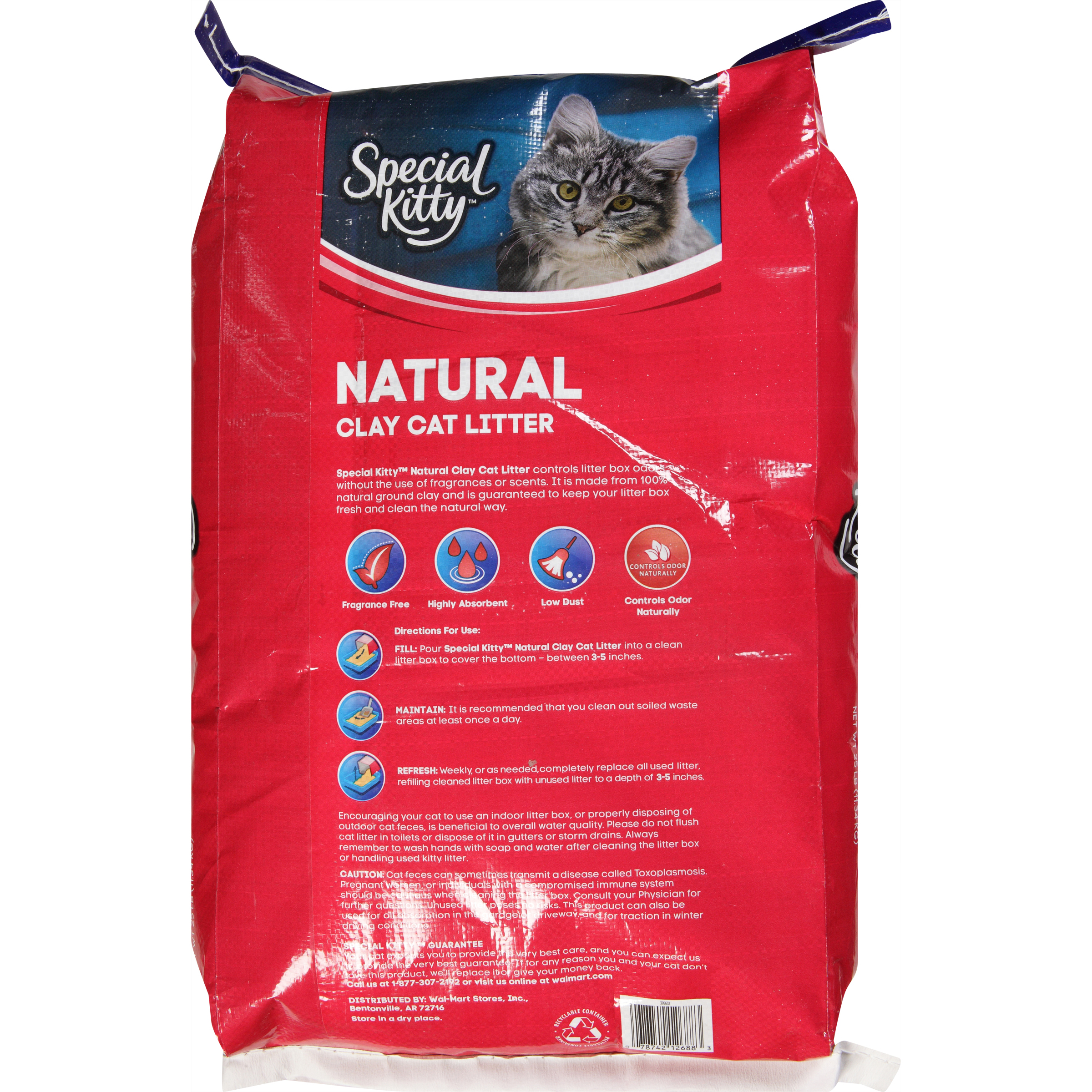 Special Kitty Natural Clay Cat Litter Unscented 25 Lb Walmart Com