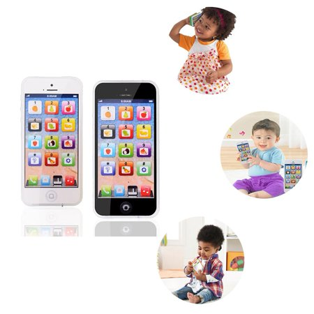 PlayPhone 2 Pack Children's Light up Imitation Cell Phone with Sound Effects - Play to learn, Touch screen with 8 functions and dazzling LED lights. USB Rechargable (2 Pack)