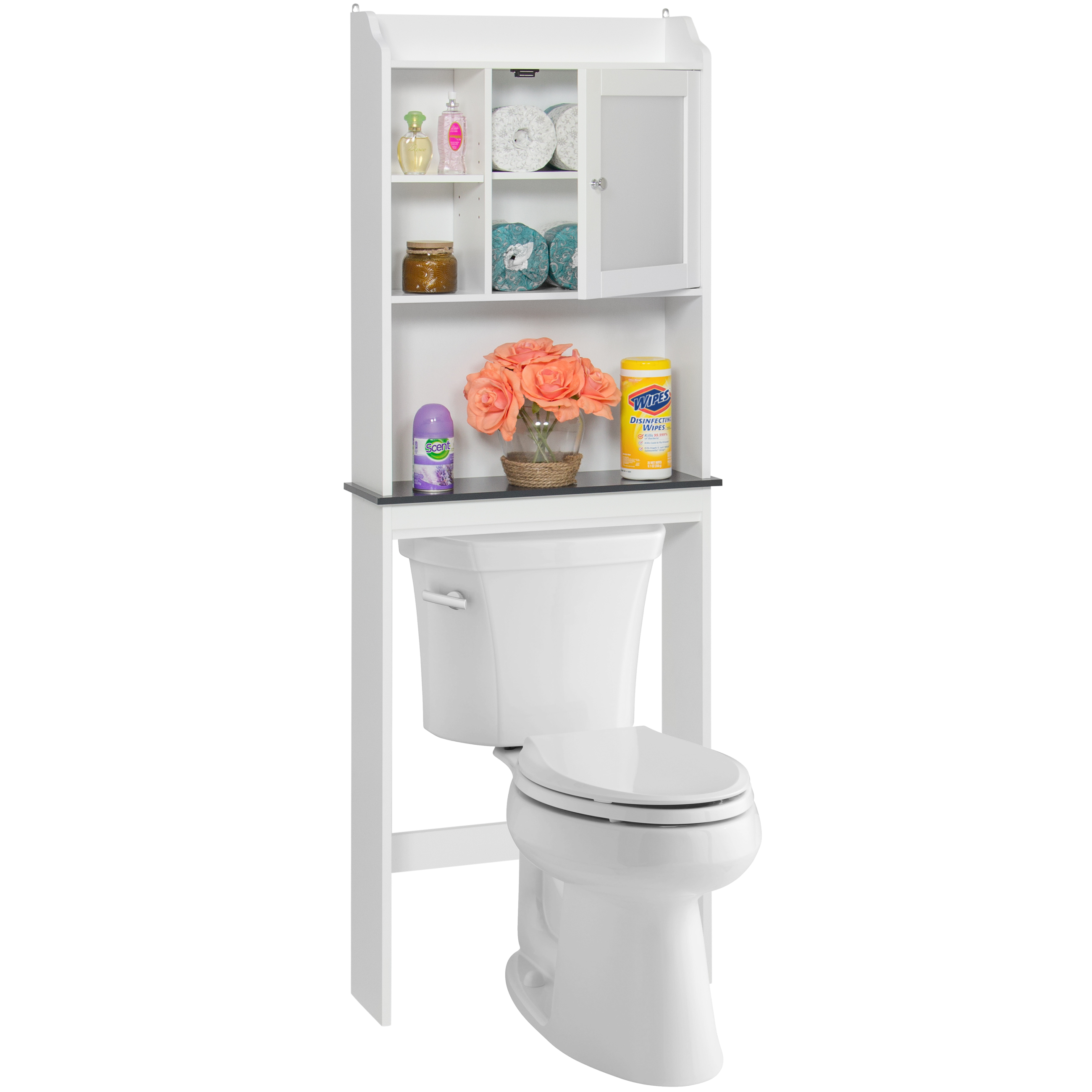Best Choice Products Modern Over The Toilet Space Saver Organization Wood  Storage Cabinet For