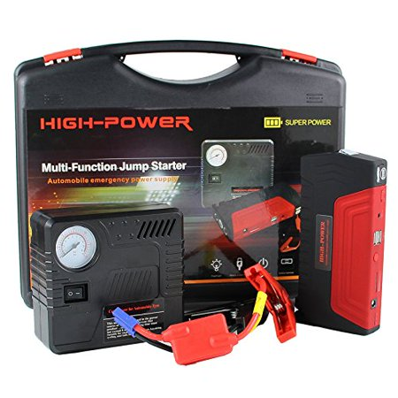 All in One Jump Starter Portable Phone Battery Large Capacity 600A Peak 16800mAh Powerful Roaside Emergency LED Light Safety Hammer Cutter Tire Compressor Air Pump Unitrack Starter Set