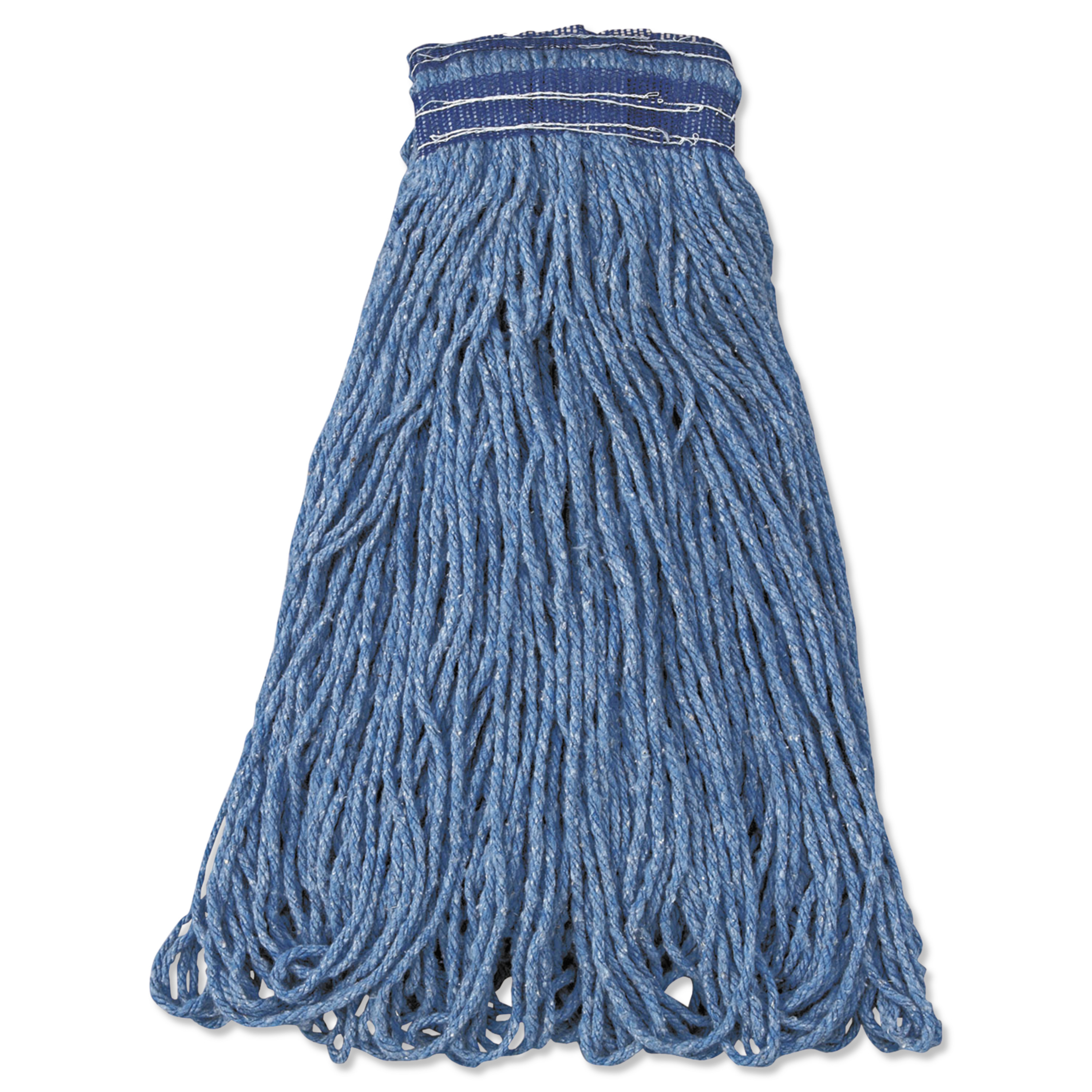 Rubbermaid Commercial Universal Headband Mop Head, Cotton/Synthetic, 24oz, Blue, 12/Carton