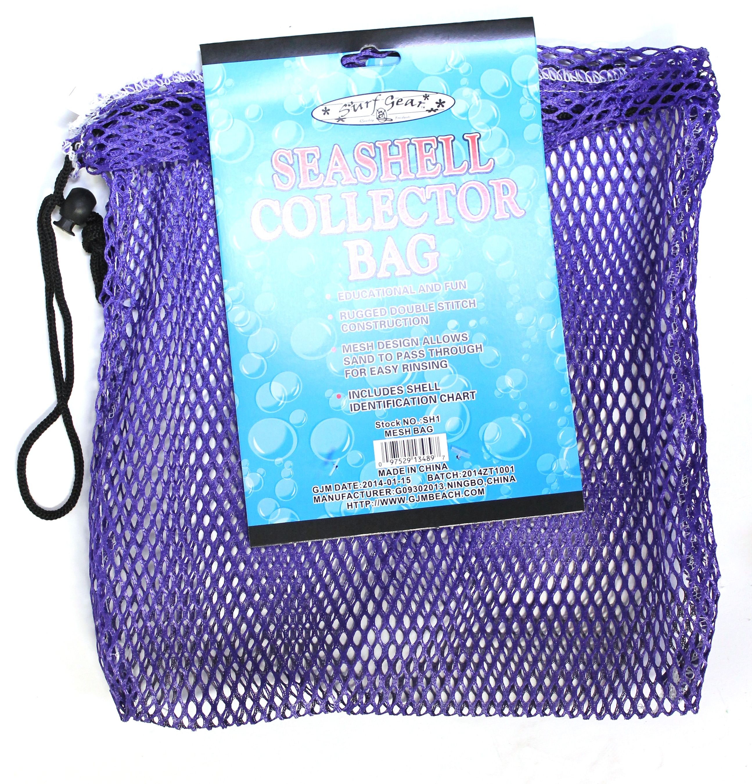 Mesh Seashell Collection Bag (12 inches x 12 inches) with Shell Identification Guide