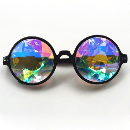 C.F.GOGGLE 2Packs Goggles Mosaic Rainbow Kaleidoscope Sunglasses Special Lens Diffraction Rave Glasses Clear Pink Black (Round Sunglasses Goggles)