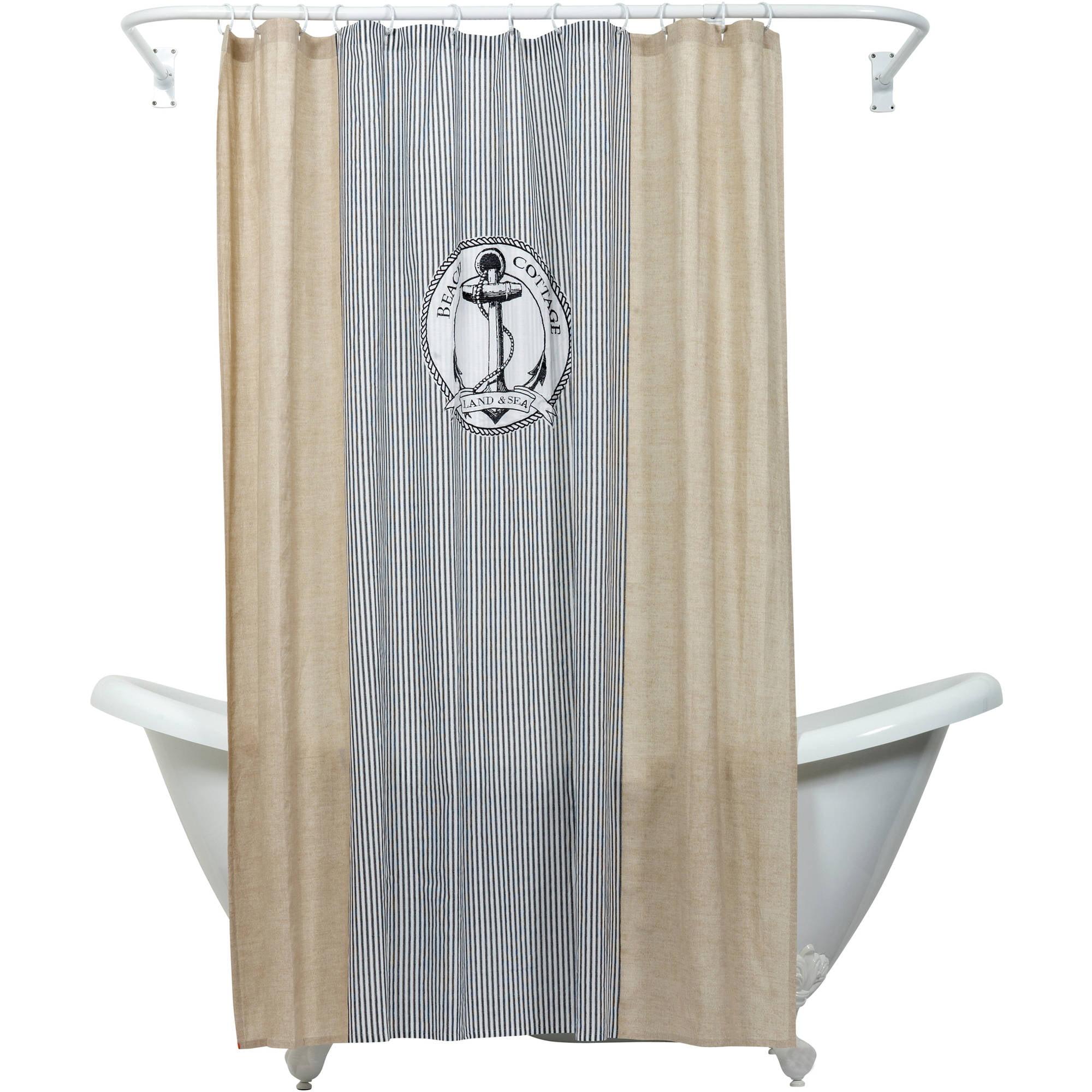 Zenna Home India Ink Beach Cottage Shower Curtain, Nautical