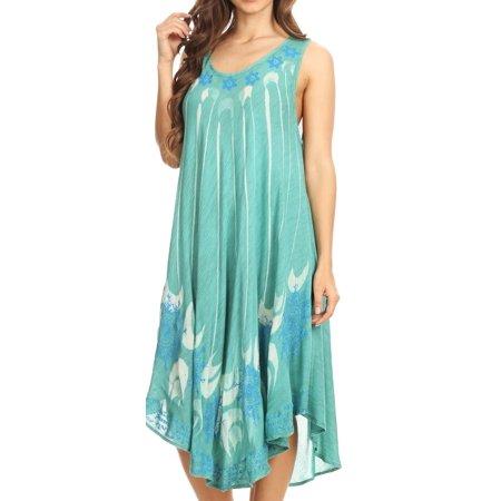 Sakkas Ecrin Women Tie-dye Sleeveless Stonewashed Caftan Cover up Dress Flowy - Aqua - One Size Regular