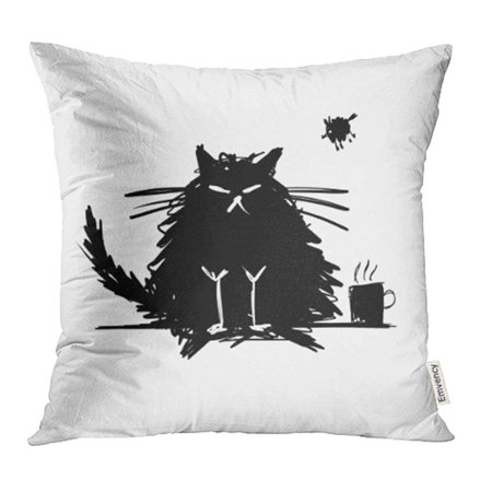 CMFUN Coffee Funny Cat Black Silhouette Sketch for Your Design Bad Halloween Animal Big Pillow Case Pillow Cover 16x16 inch Throw Pillow Covers](Silhouette Halloween Designs)