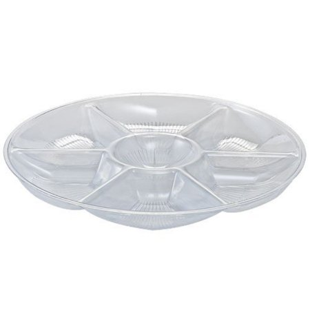 party dimensions 7-compartment plastic platter, 14-inch, clear - Plastic Party Platters