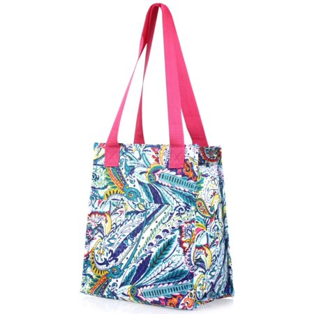 Zodaca Fashion Handbag Insulated Lunch Tote Zipper Double Handles Carry Bag for Travel Grocery