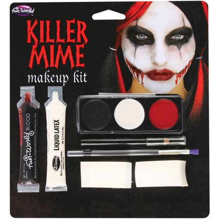 Killer Mime Makeup Kit Adult Halloween Accessory By Fun World - Pale Skin Halloween Makeup