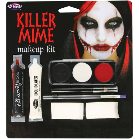 Killer Mime Makeup Kit Adult Halloween Accessory By Fun World - Cracked Halloween Makeup