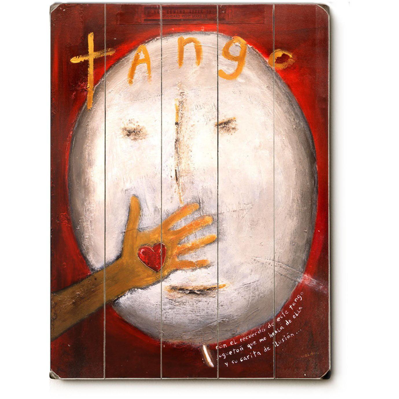 "ArteHouse Decorative Wood Sign ""Tango"" by Artist Tim Weldon, 30"" x 40"", Planked Wood"