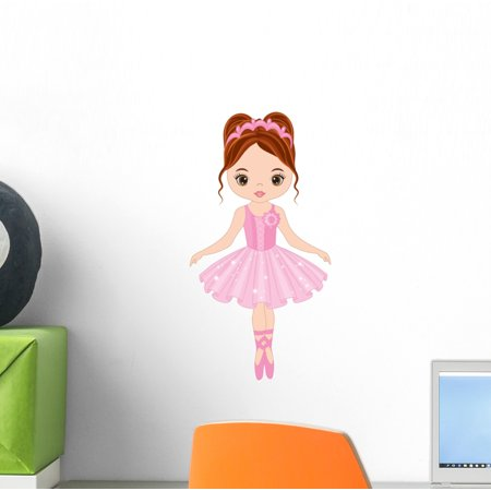 Cute Little Ballerina Dancing Wall Decal Wallmonkeys Peel and Stick Decals for Girls (12 in H x 12 in W) - Ballerina Wall