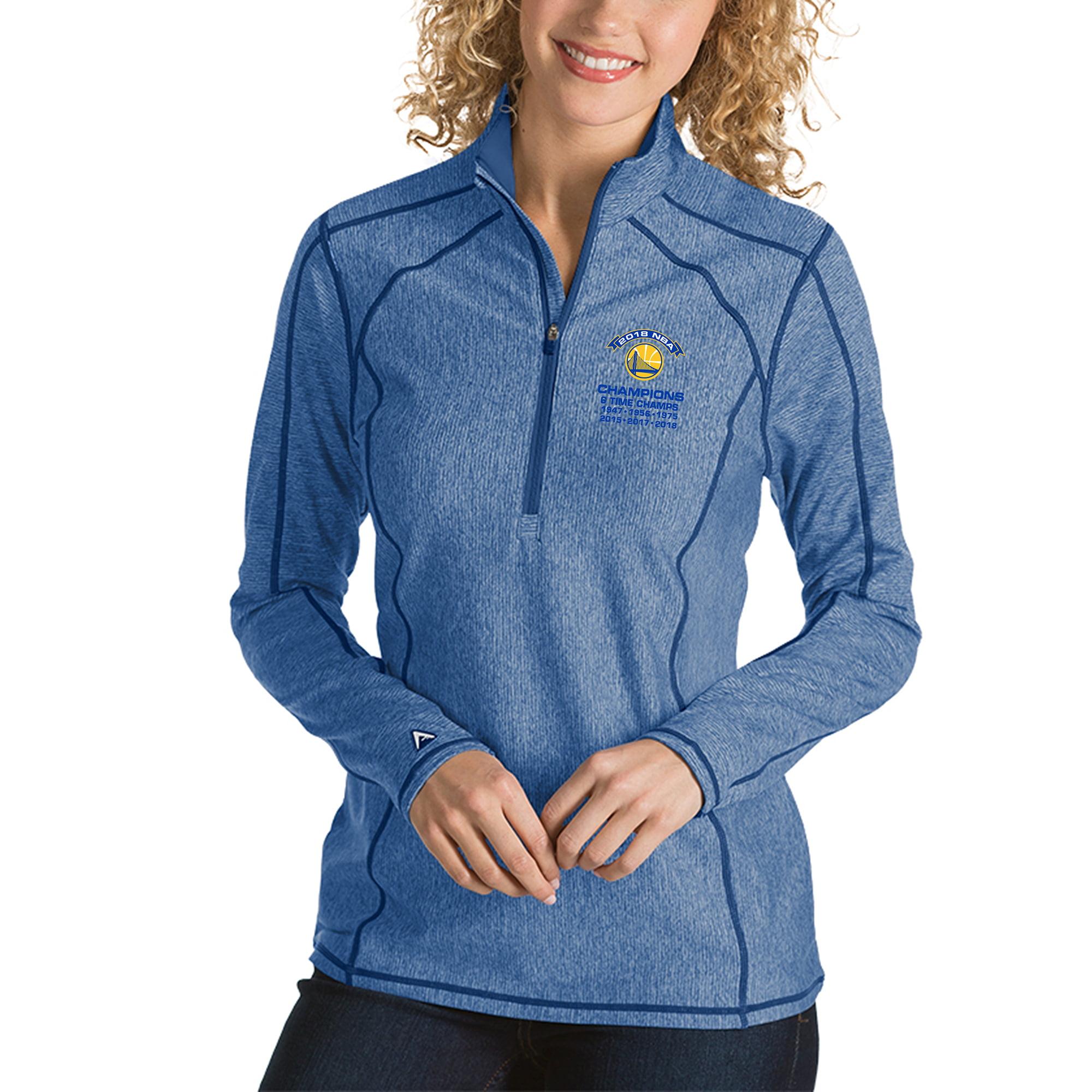 Golden State Warriors Antigua Women's 2018 NBA Finals Champions Tempo Quarter-Zip Pullover Jacket - Heather Royal