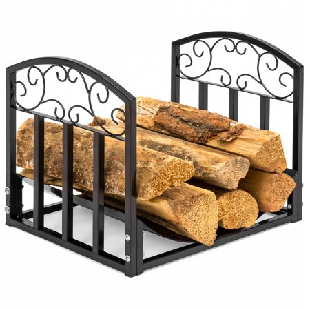 Best Choice Products Indoor Wrought Iron Firewood Fireplace Log Rack Holder Hearth Storage Tray w/ Scroll Design - Black (Log Book Holder)
