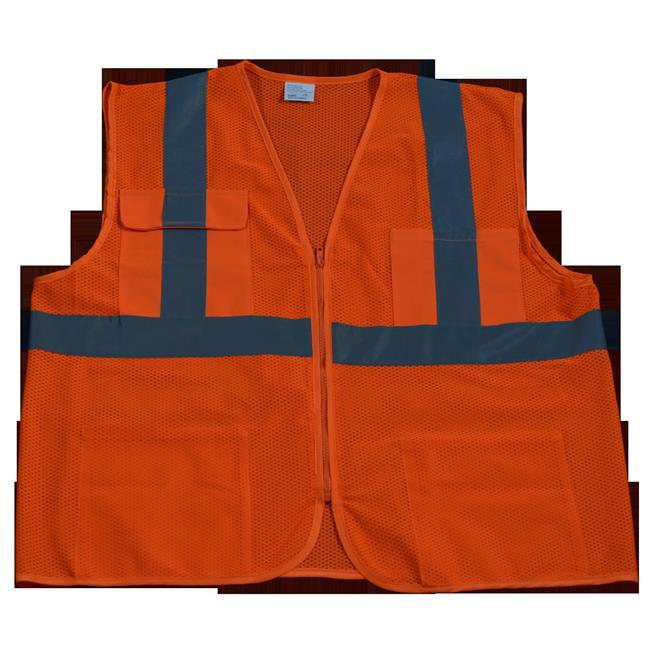 OVM24-2X-3X Safety Vest Ansi Class 2 All Mesh 4-Pocket, Orange - 2X & 3X