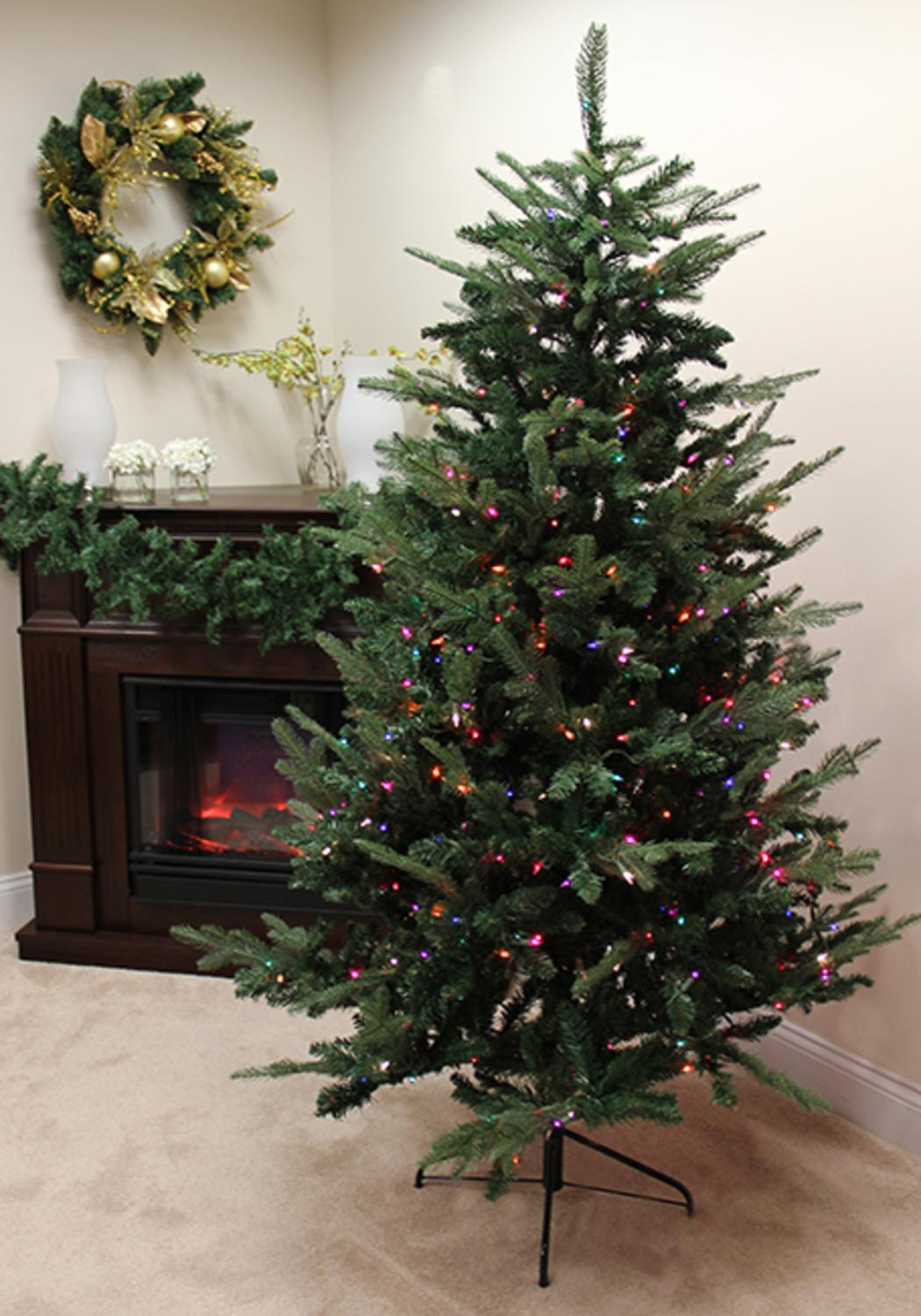 7' Pre-Lit Grantwood Pine Artificial Christmas Tree - Multi Lights