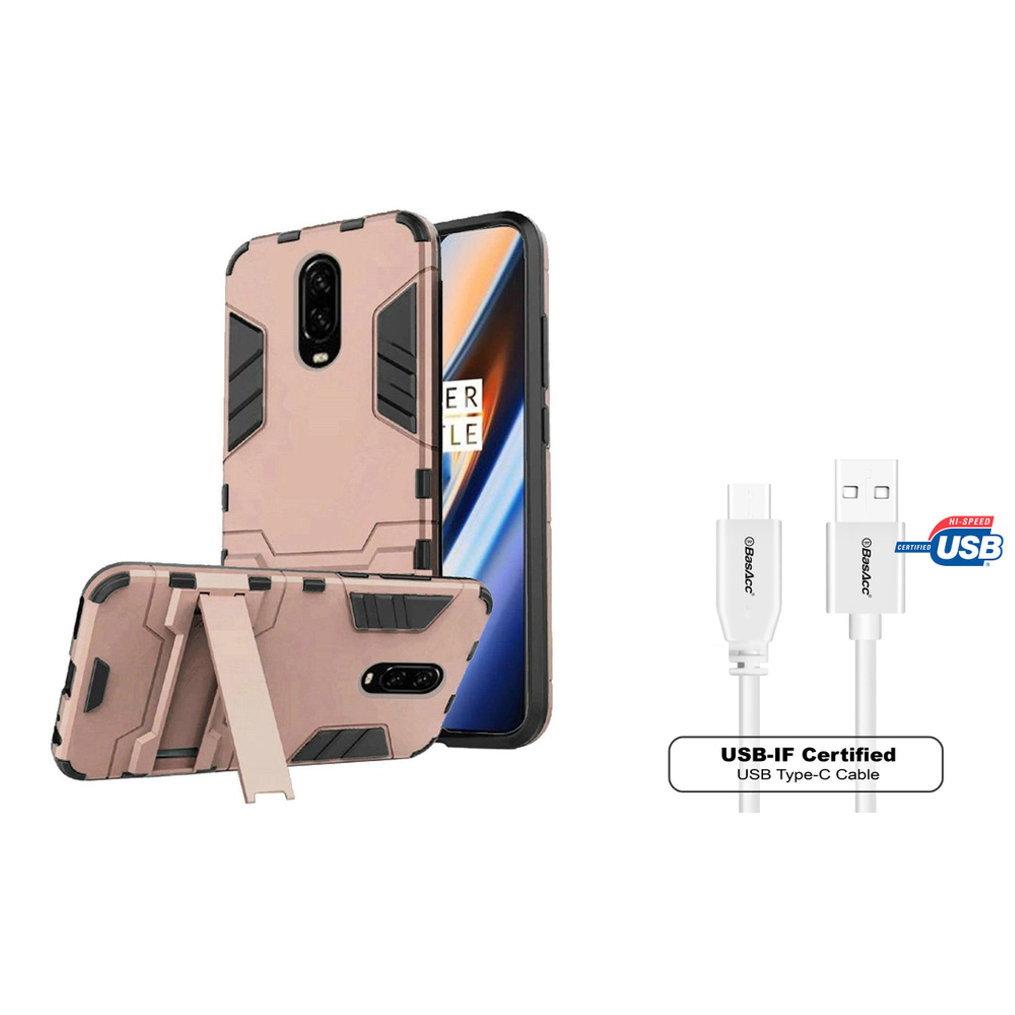 Insten Dynamite Shockproof Dual Layer Hybrid Stand PC/TPU Rubber Case Cover For OnePlus 6T - Rose Gold (Bundle with USB Type C Cable)
