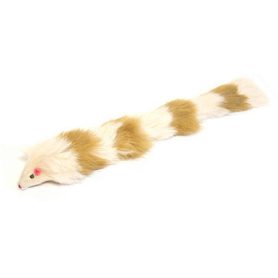 Iconic Pet Brown / White Fur Weasel Toy