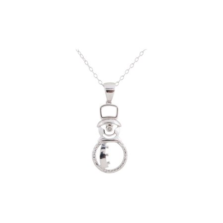 Snowman Pendant Necklace with Diamond Accent in Sterling Silver with Chain](Snowman Necklace)