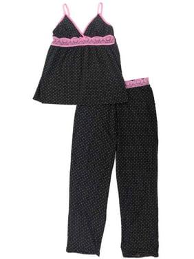 Womens Black Fuchsia Polka Dot Hot Pink Lace Trimmed Pajama Cami Sleep Set
