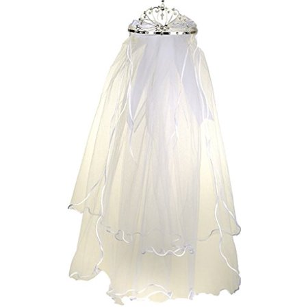 Flower Girl First Communion Veil Two Layers Tulle & Tiara Attach White TR - Veil Communion