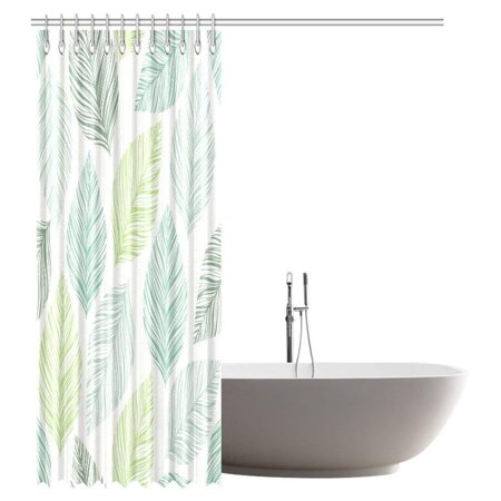 GCKG Leaves Decor Shower Curtain, Exotic Fantasy Tropical Leaves With Stylish Floral Graphic Illustrated Art Fabric Bathroom Shower Curtain 66x72 Inches - image 1 de 2
