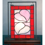 Meyda Tiffany - 69137 - Mini Tabletop Window - Hearts of Passion - Lt Peach Pink Red-28pack