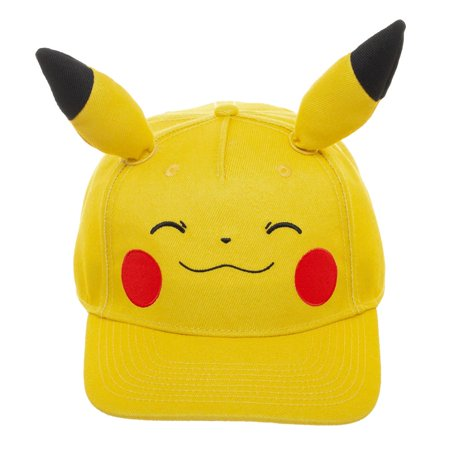 Pokemon Pikachu Big Face Pre-Curved Bill Snapback Hat](Pikachu Hat)