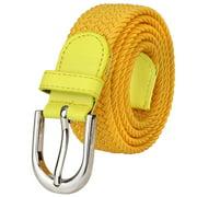 Falari Men Women Canvas Elastic Fabric Woven Stretch Braided Belt - 20 Variety Colors