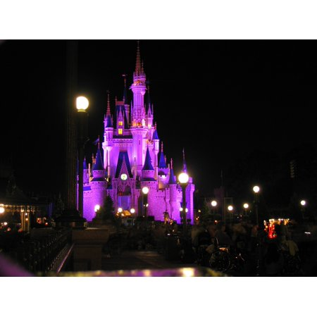 Canvas Print Night Romantic Magic Kingdom Disneyland Florida Stretched Canvas 10 x - Disneyland Florida Halloween