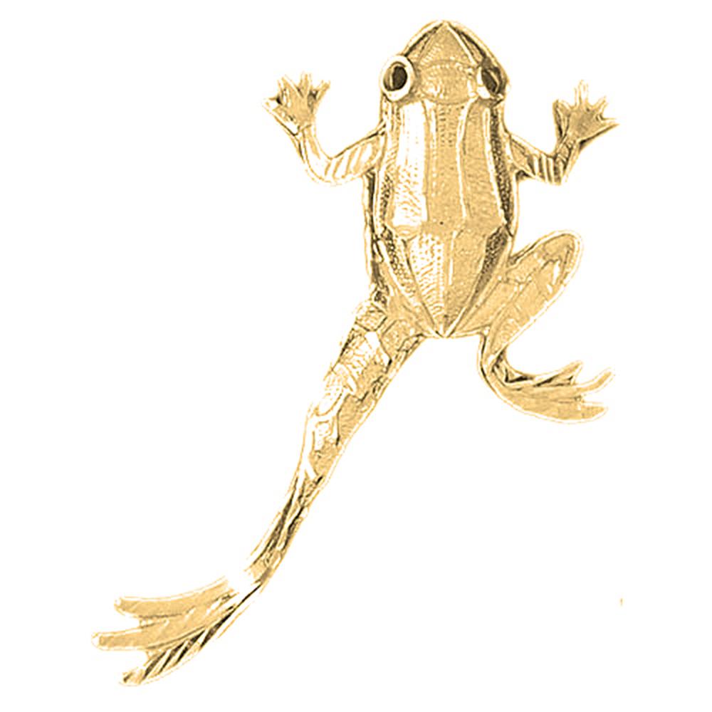 10K Yellow Gold Frog Pendant - 42 mm