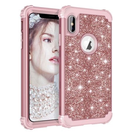 Compatible iPhone XS Max Case Glitter Sparkle Bling Heavy Duty Hybrid Armor  Defender High Impact Shockproof dd187ef9c