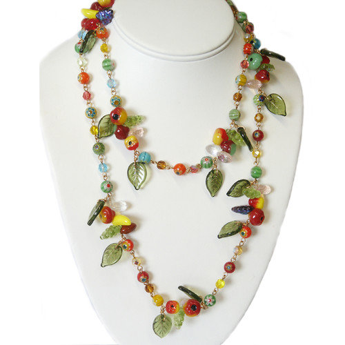 Sweet Romance 1940s Glass Fruit Necklace