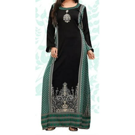 Beautiful Long Dress, Indian Caftan, Kaftan Dresses | IMANE TEAL | Bust Size - Pakistani Indian Clothes