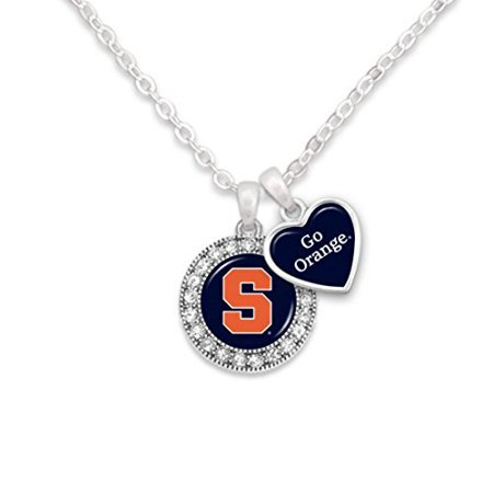 - Syracuse Logo and Heart Shaped Charm Necklace Featuring Team Slogan