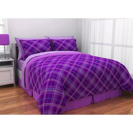 latitude purple plaid complete bed in a bag bedding set. Black Bedroom Furniture Sets. Home Design Ideas