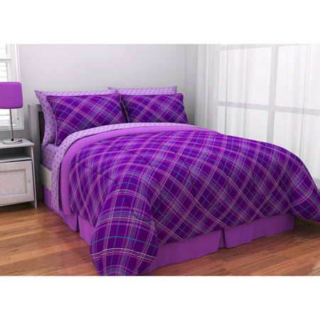 Latitude Purple Plaid Complete Bed In A Bag Bedding Set