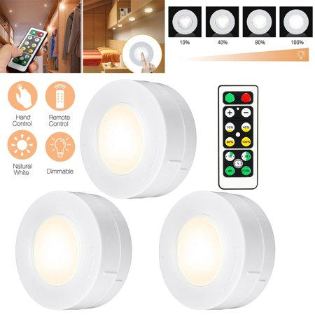 3pcs Wireless Remote Control Under Cabinet Smd Led Puck Light Battery Operated Walmart Canada