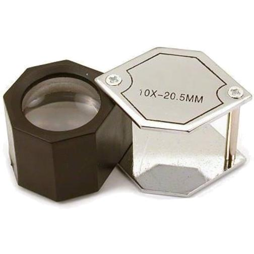 10x Hexagon Chrome Loupe Jewelers Gem Magnifier Tool