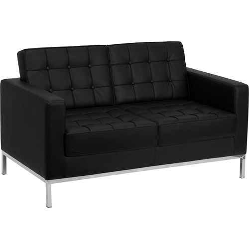 Flash Furniture Hercules Lacey Series Leather Love Seat, Black