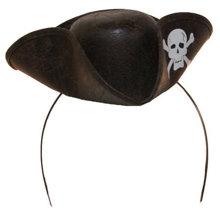 Mini Pirate Hat Headband w/ Skull & Crossbones (Pirate Headband)