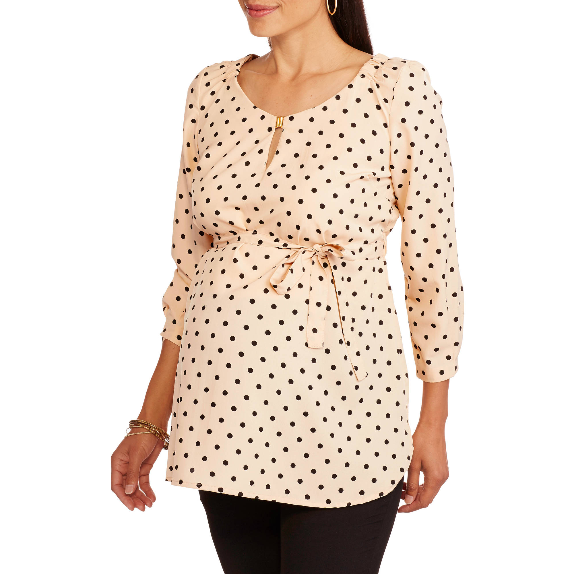 Oh! Mamma Maternity Polka Dot Top with Tie Waist