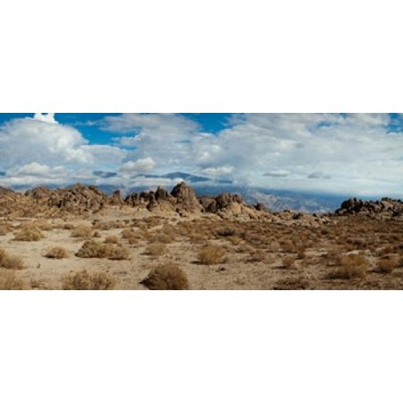 Rock formations in a desert Alabama Hills Owens Valley Lone Pine California USA Stretched Canvas - Panoramic Images (15 x (Desert Hills California)