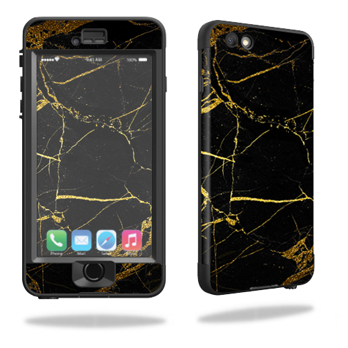 MightySkins Protective Vinyl Skin Decal for Lifeproof iPhone 6/6S Plus nuud wrap cover sticker skins Black Gold Marble