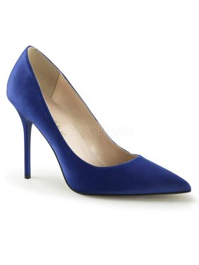 9d2f05a5f837 Product Image Royal Blue Satin Pleaser Single Soles 4