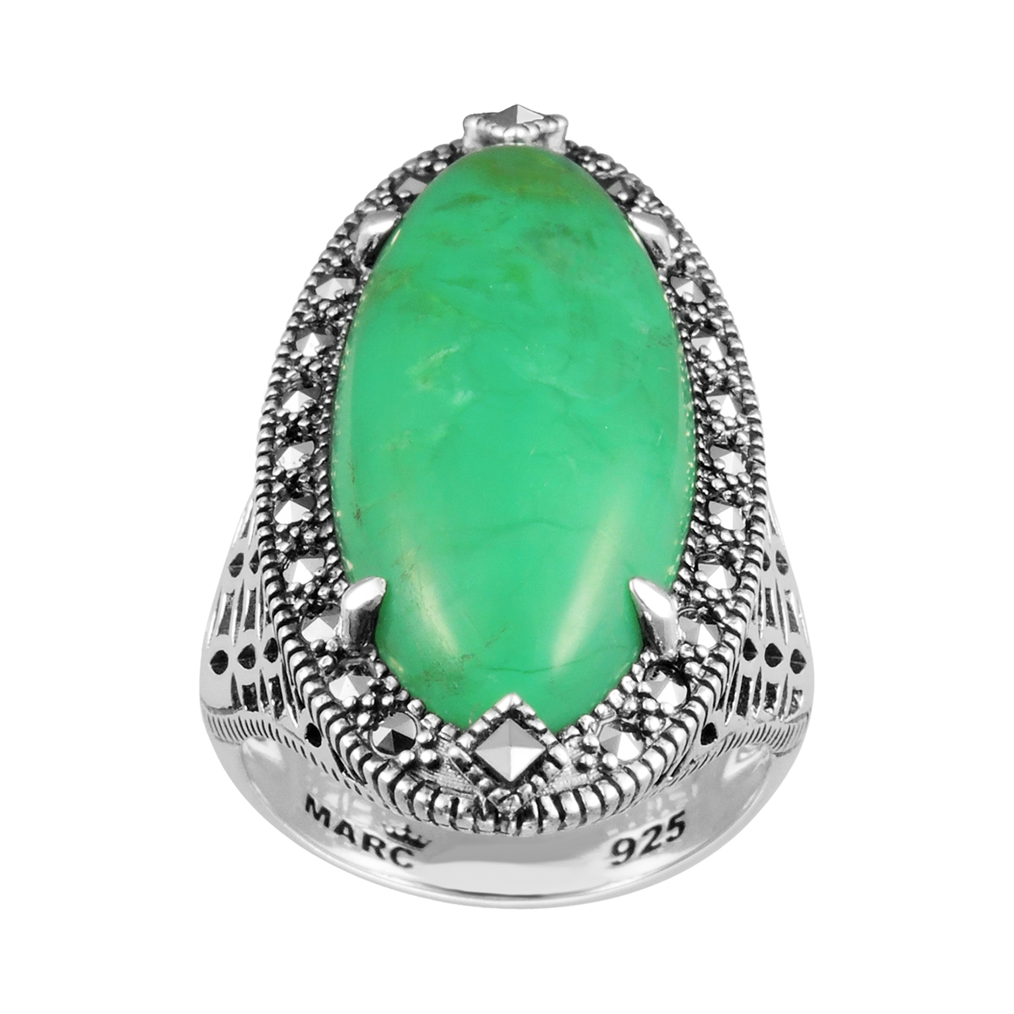 MARC Sterling Silver & Swarovski Marcasite Ring Set With Chrysoprase by TJM