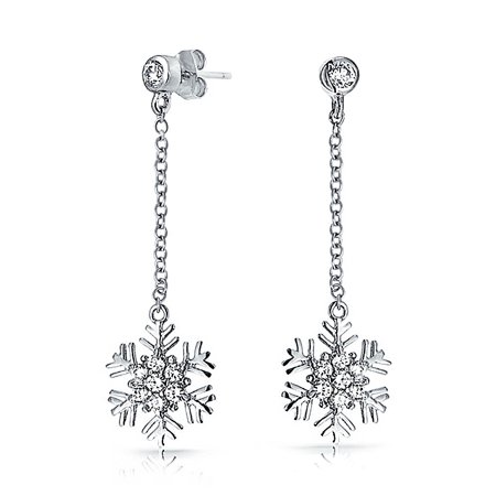 Bling Jewelry Sterling Silver Pave Cz Chain Drop Snowflake Dangle Earrings