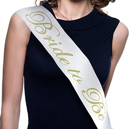 Bachelorette Party Bride to Be Sash - Bridal Shower Accessories (White Satin Gold Lettering) Favors Decorations - Bridal Shower Favor Tags